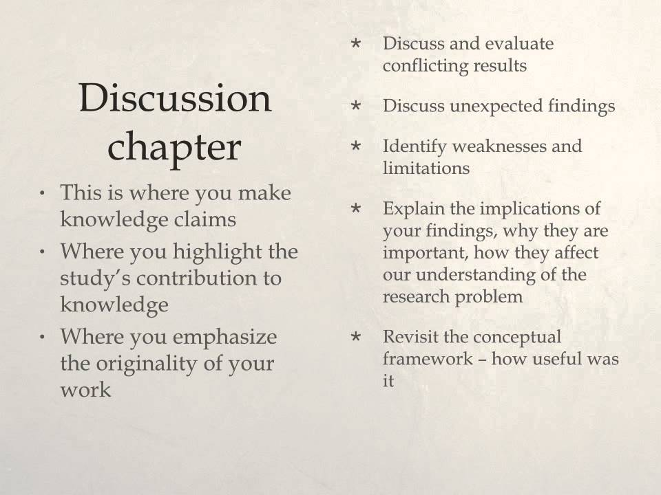 chapter 4 thesis discussion A free online resource of thesis writing sample thesis chapter 4 : data this part of the paper will provide the discussion and analysis of the perception.