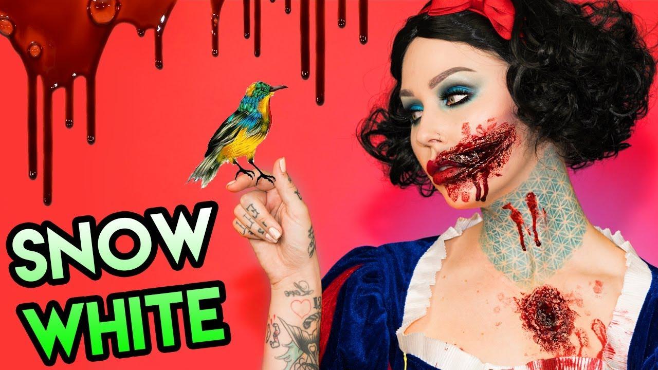 I KILLED SNOW WHITE   Disney Princess Halloween Makeup Tutorial ...