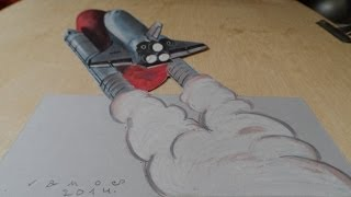 3D Drawing, Atlantis Space Shuttle, Time Lapse