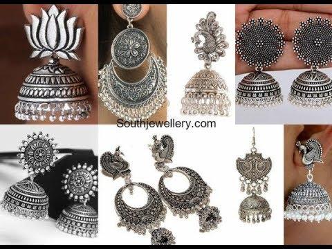 Silver jhumka earrings designs    party wear mirror jhumka earrings   2019