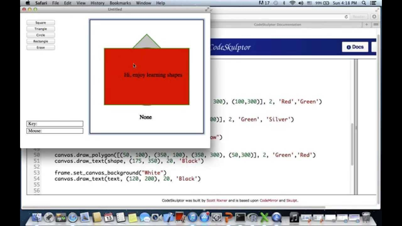 Programming in python - Draw shapes on canvas