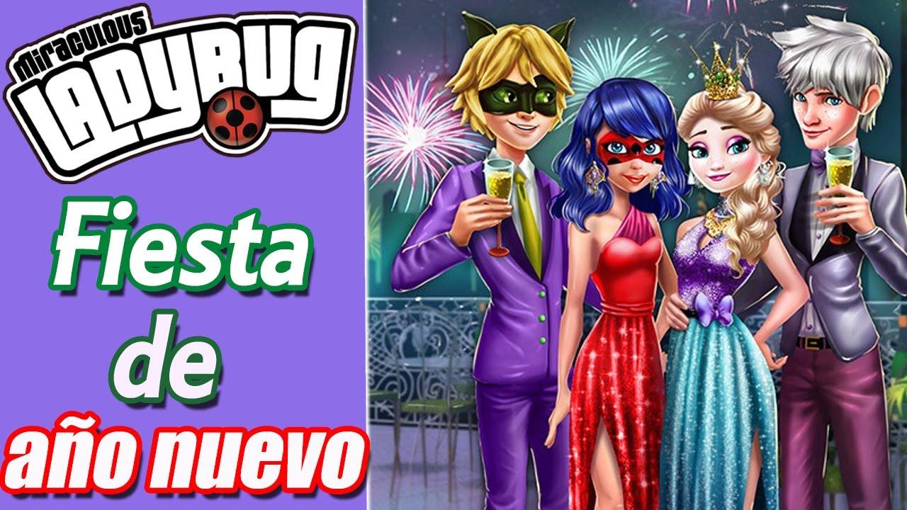 LADYBUG Y ELSA FIESTA DE AÑO NUEVO // MIRACULOUS LADY BUG Y FROZEN ...