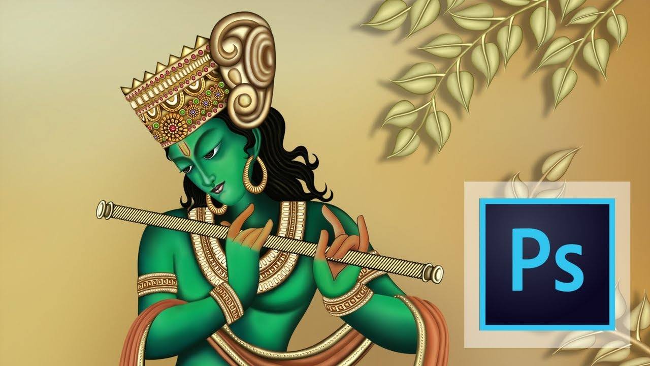 Digital Art Painting of Lord Shri Krishna 2018 in Photoshop | Full ...