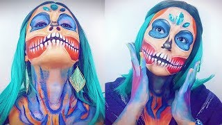 HALLOWEEN | COLOURFUL SKULL MAKEUP TUTORIAL | Makeup By Tina H