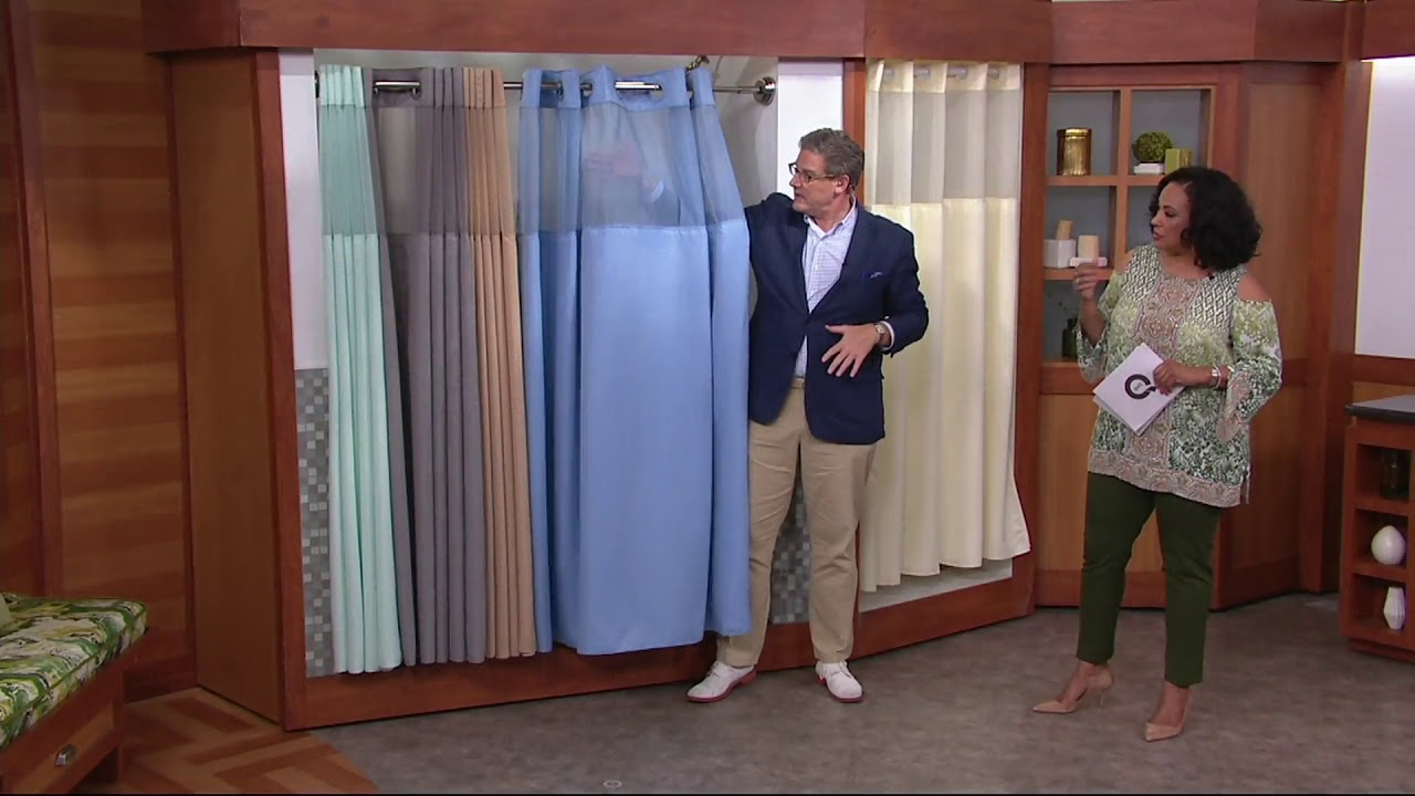 Hookless Mini Square Jacquard Shower Curtain W Fabric Liner On QVC