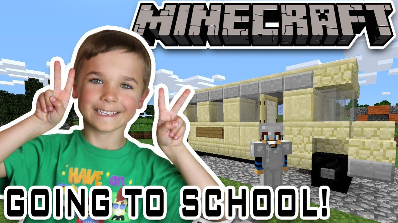 GOING TO SCHOOL ON A BUS in MINECRAFT SURVIVAL MODE