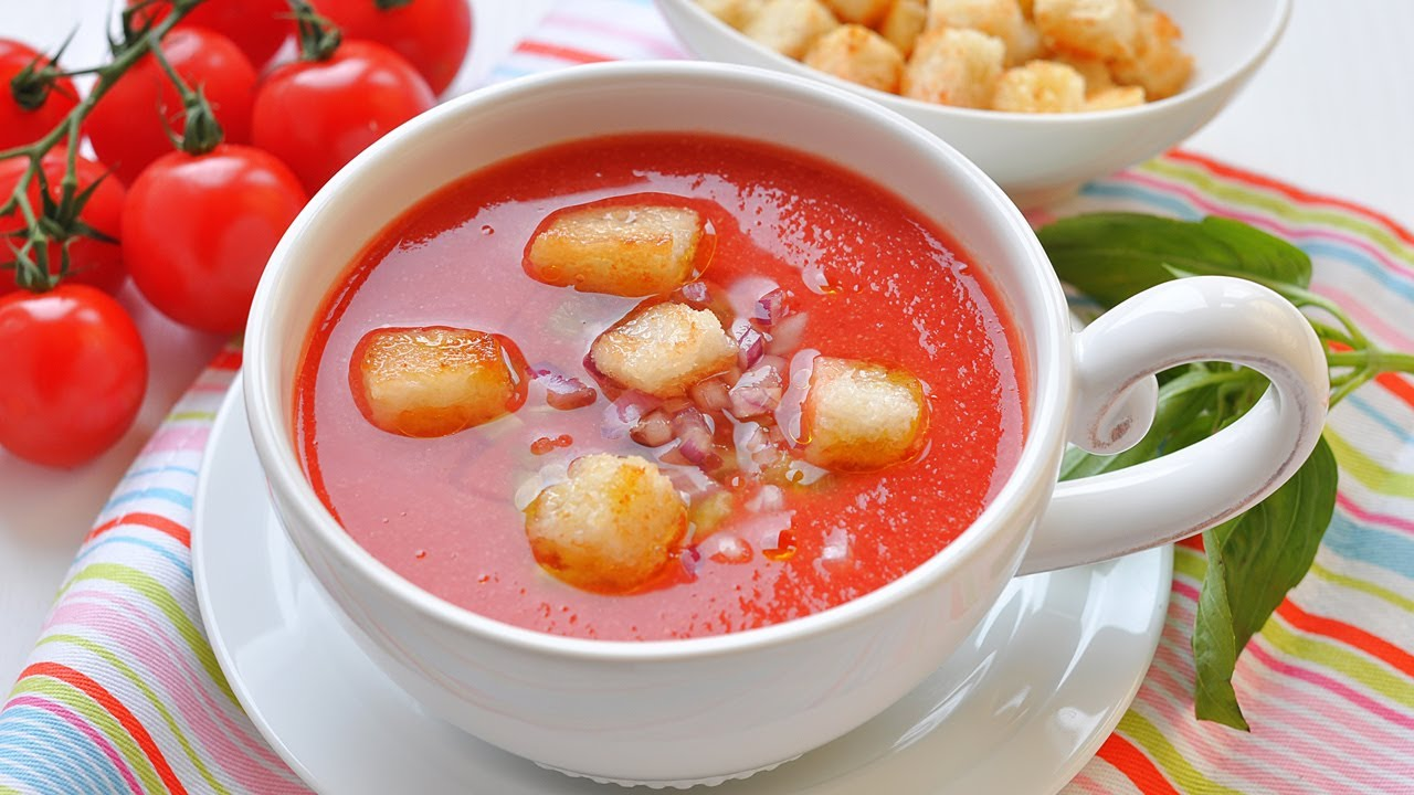 Гаспачо (холодный томатный суп). Готовим дома