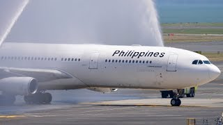 INAUGURAL Philippine Airlines A340-300 Landing + Water Salute | Auckland Airport Plane Spotting [4K]