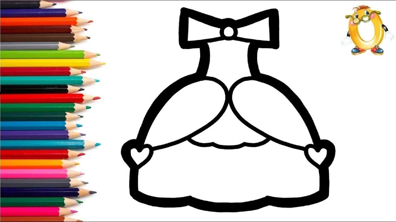 Раскраска для детей ПЛАТЬЕ С СЕРДЕЧКАМИ. Мультик ...
