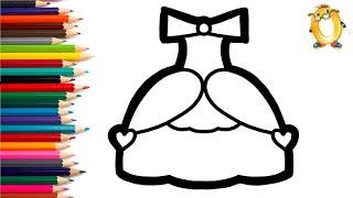 Раскраска для детей ПЛАТЬЕ С СЕРДЕЧКАМИ. Мультик - Раскраска. Учим цвета II ОБУЧАШКА ТВ
