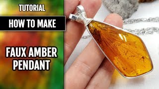 Beginner WIRE Tutorial! How to make Bezel with Flat Wire for Faux Resin Amber cabochon!