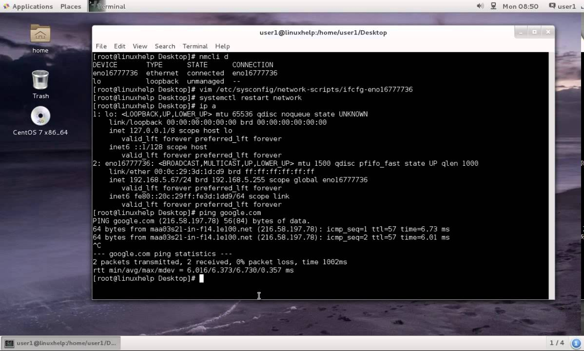 How to configure network on CentOS 7 | LinuxHelp Tutorials