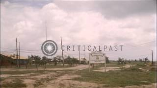 Armored railroad train approaches at US Army 1st Infantry Division gate in Dian, ...HD Stock Footage