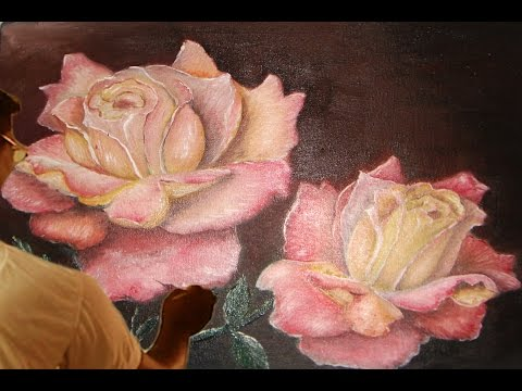 how to draw oil painting, pink rose tutorials – Paint With Dilip Art