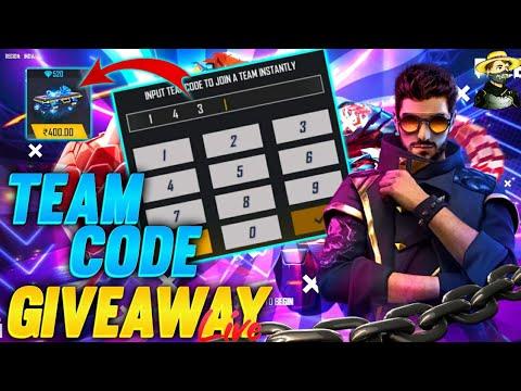 free fire live team code dj alok & diamond giveaway | ff live | teamcode giveaway live