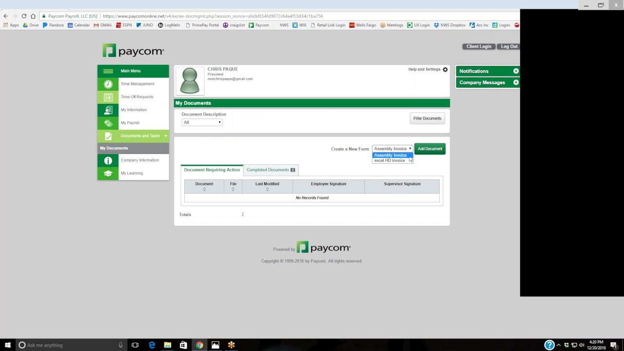 Payroll System Employee sign up