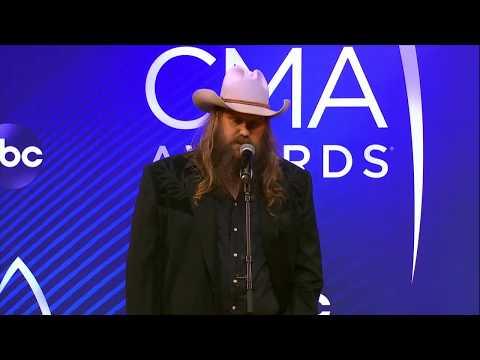 Chris Stapleton Celebrates Backstage At The 2018 CMA Awards