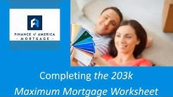 Maximum Mortgage Worksheet Explained