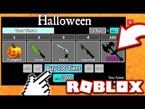 I BOUGHT ALL 100 TIERS in MURDER MYSTERY 2 and UNLOCKED A RARE GODLY KNIFE! (Roblox Halloween 2018)