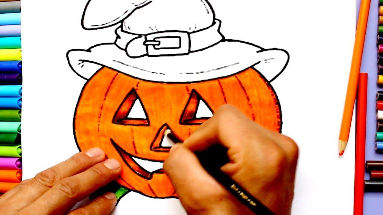 Aprende A Colorear /Dibujar Una Bruja De Calabaza/Dibujos para niños ...