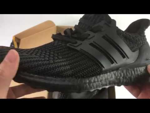 55ae1f798f901 NEW 2017 UA Adidas Ultra Boost 4.0 All Black Unboxing Review ShoesGather
