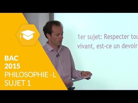 Bac 2015 : Philosophie L - Sujet 1 (corrigé)