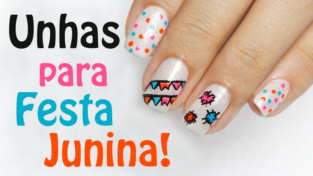 Adesivo De Jogos ~ Unhas para Festa Junina Julina Festa Caipira! Unhas da Mi #17 YouTube