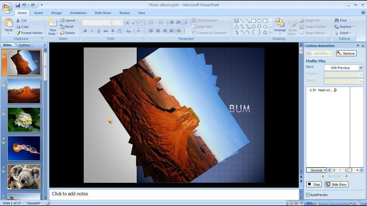 how to create slideshow with music in powerpoint