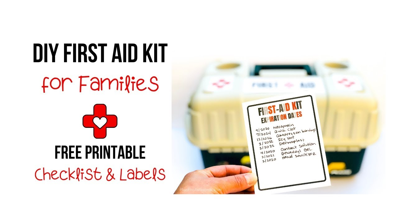 picture about Printable Pocket First Aid Guide called Do it yourself Initial Guidance Package for Family members with a Free of charge Printable Checklist