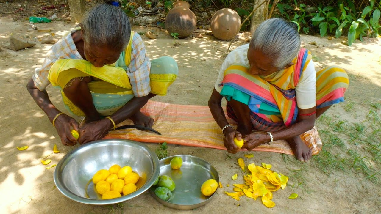 MANGO FROOTI prepare for Tribe kids   How tribe grandmothers prepare Mango Juice in their style