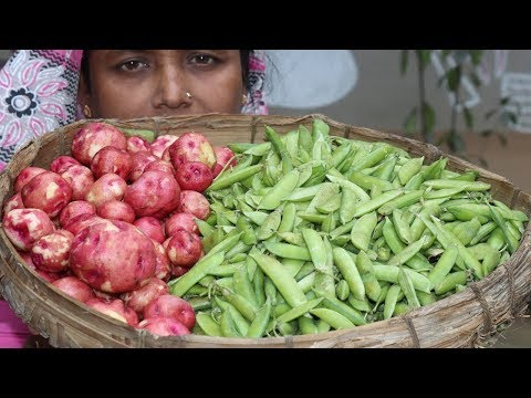 Village Food Farm Fresh Green Peas Recipe Village Style Delicious Fresh Green Peas & Potato Cooking