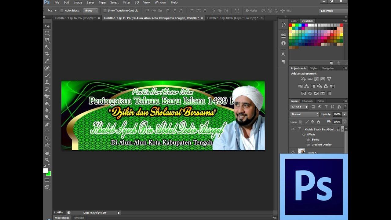 Cara Membuat Banner Pengajian Sholawat