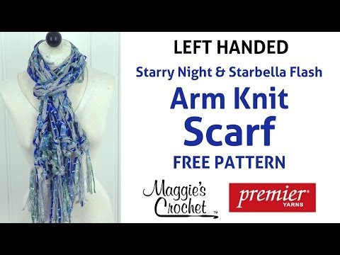 Arm Knit Starbella Flash & Starry Night Fringed Scarf - Left Handed