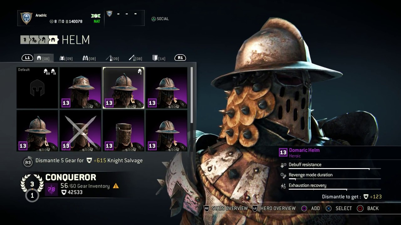 for honor conqueror heroic armor set domaric helm chest and