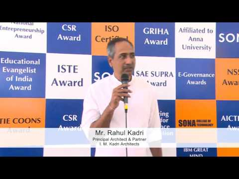 Mr.Rahul Kadri, Principal Architect, Mumbai at Sona College of Technology, Salem, Tamilnadu