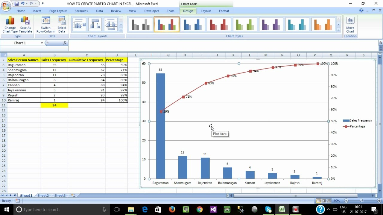 How to create pareto chart in ms excel tamil youtube how to create pareto chart in ms excel tamil pooptronica Images