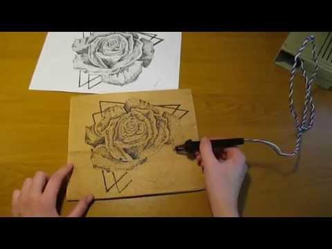 Пирография - выжигаем по дереву розу