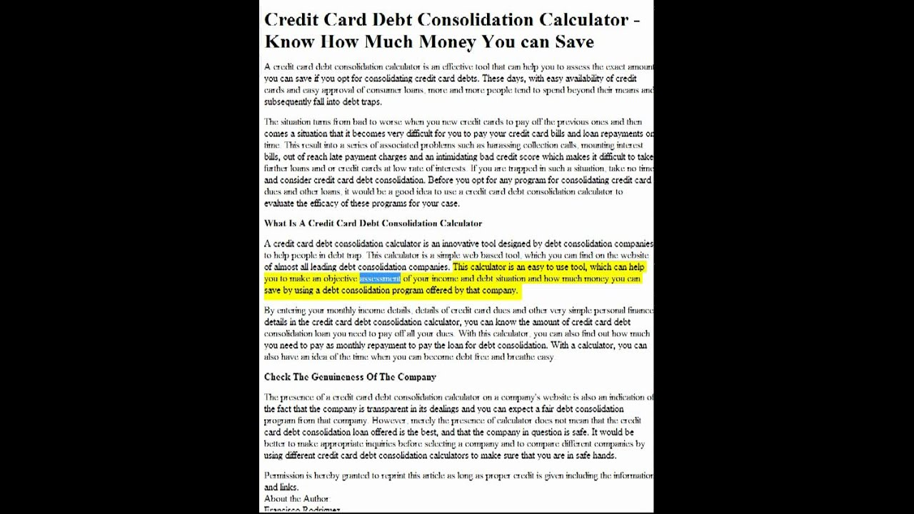 Credit Card Debt Consolidation Calculator - Know How Much Money You - simple credit card calculator