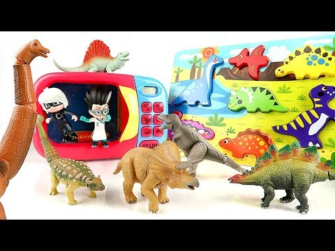 PJ Masks Villain Transforms Dinosaurs into Wooden Puzzle! Turn Real Dinosaur into a Microwave?