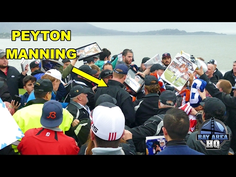 Peyton Manning MOBBED by AUTOGRAPH HOUNDS at 2017 AT&T Pebble Beach Pro Am - Golf, Broncos, Colts