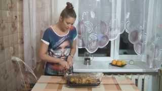 Картофель с мясом и грибами запеченный в рукаве