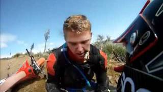 Dirt bike rider gets impaled by branch
