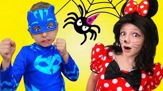 Spider Attacks Minnie - Superhero in Mask comes for rescue   Super Elsa