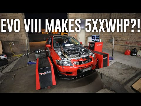 EVO 8 MAKES INSANE POWER ON THE DYNO! *570+whp*