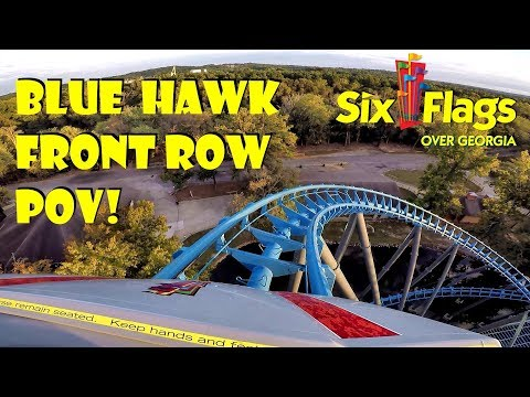 Blue Hawk Six Flags Over Georgia FRONT ROW POV During Fright Fest!!!
