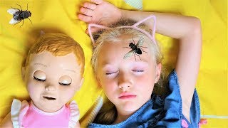 Polina vs Pesky Flies! Funny video for kids & Babies