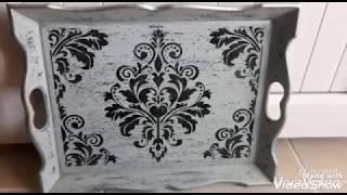 Tepsi Boyama - Mum Eskitme  - Stencil