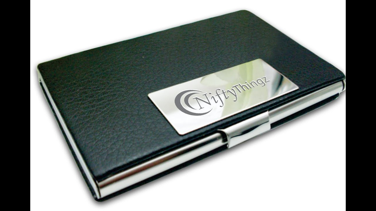 Black Leather Business Card Holder For Men & Women - YouTube
