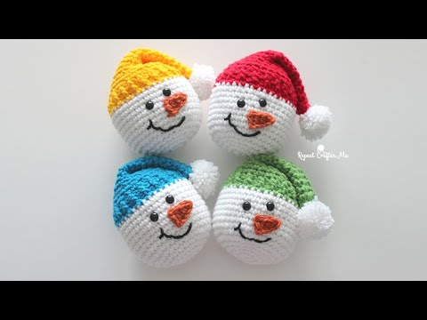 Free Crochet Snowman Baubles - Christmas Decorations | 360x480