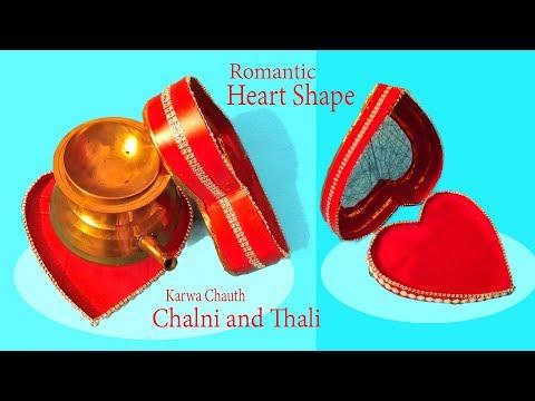 Romantic Heart Shape Karwa Chauth Chalni and Thali | Karwa Chauth 2019, Heart Shape Chalni and Thali